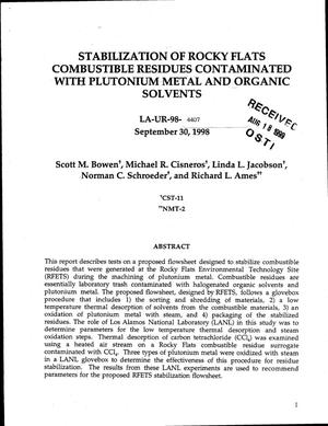 Primary view of object titled 'Stabilization of Rocky Flats combustible residues contaminated with plutonium metal and organic solvents'.