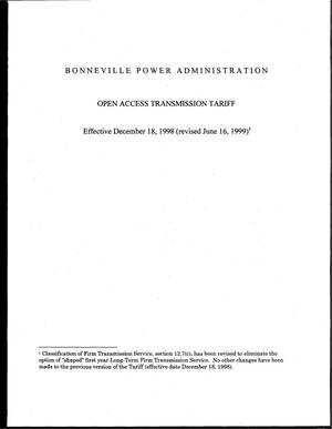 Primary view of object titled 'Open Access Transmission Tariff: Effective December 18, 1998 (Revised June 16, 1999).'.