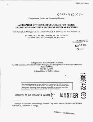 Primary view of object titled 'Assessment of the US regulations for fissile exemptions and fissile material general licenses'.