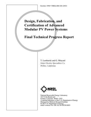 Primary view of object titled 'Design, Fabrication, and Certification of Advanced Modular PV Power Systems Final Technical Progress Report'.