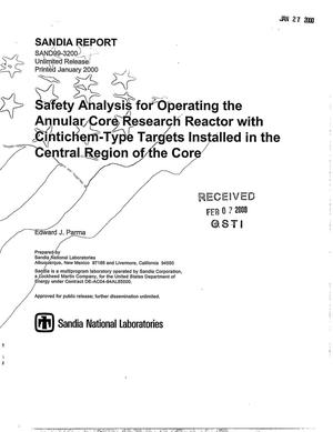 Primary view of object titled 'Safety analysis for operating the Annular Core Research Reactor with Cintichem-type targets installed in the central region of the core'.
