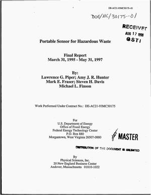 Primary view of object titled 'Portable sensor for hazardous waste. Final report, March 31, 1995--May 31, 1997'.