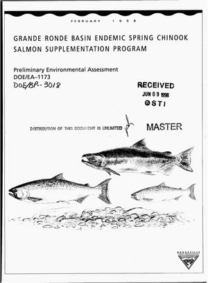 Primary view of object titled 'Grande Ronde Basin Endemic Spring Chinook Salmon Supplementation Program; Preliminary Environmental Assessment'.