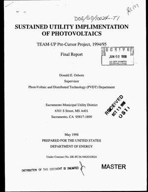 Primary view of object titled 'Sustained utility implementation of photovoltaics. Final report'.
