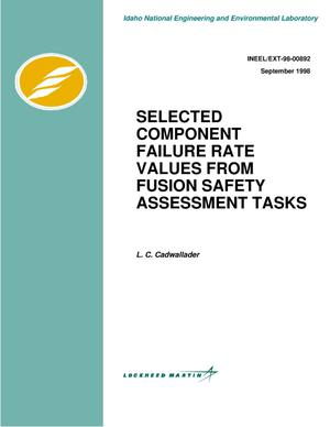 Primary view of object titled 'Selected component failure rate values from fusion safety assessment tasks'.