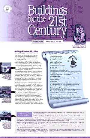 Primary view of object titled 'Buildings for the 21st Century, Winter 2000 Office of Building Technology, State and Community Programs (BTS) Newsletter'.