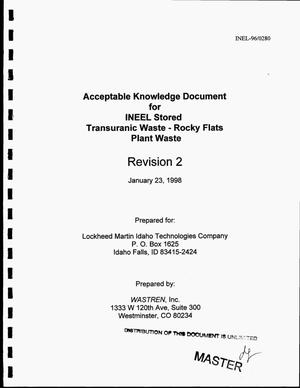 Primary view of object titled 'Acceptable knowledge document for INEEL stored transuranic waste -- Rocky Flats Plant waste. Revision 2'.