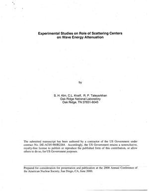Primary view of object titled 'Experimental Studies on Role of Scattering Centers on Wave Energy Attenuation'.
