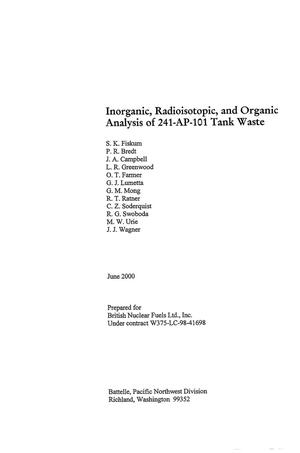 Primary view of object titled 'Inorganic, radioisotopic and organic analysis of 241-AP-101 tank waste'.