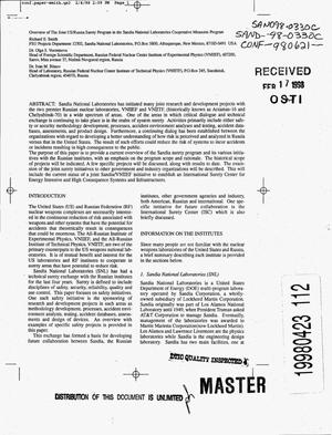 Primary view of object titled 'Overview of the joint US/Russia surety program in the Sandia National Laboratories Cooperative Measures Program'.