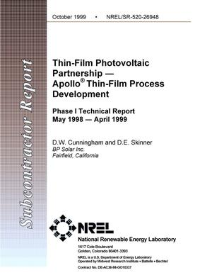 Primary view of object titled 'Thin-film photovoltaic partnership -- Apollo{reg{underscore}sign} thin film process development: Phase 1 Technical Report, May 1998--April 1999'.