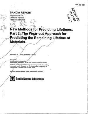 Primary view of object titled 'New methods for predicting lifetimes. Part 2 -- The Wear-out approach for predicting the remaining lifetime of materials'.