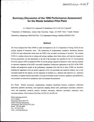 Primary view of object titled 'Summary discussion of the 1996 performance assessment for the Waste Isolation Pilot Plant'.
