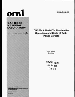 Primary view of object titled 'ORCED: A model to simulate the operations and costs of bulk-power markets'.