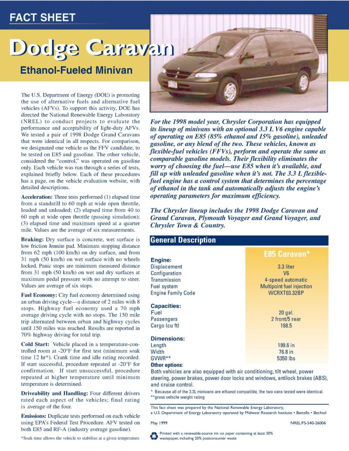 Dodge Caravan fact sheet - Digital Library