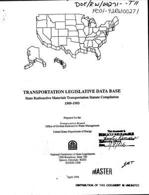 Primary view of object titled 'Transportation legislative data base: State radioactive materials transportation statute compilation, 1989--1993'.