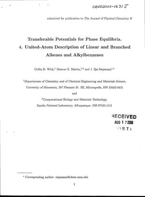 Primary view of object titled 'Transferable Potentials for Phase Equilibria. 4. United-Atom Description of Linear and Branched Alkenes and Alkylbenzenes'.