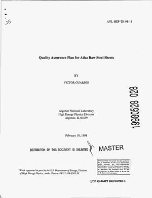 Primary view of object titled 'Quality assurance plan for Atlas raw steel sheets'.
