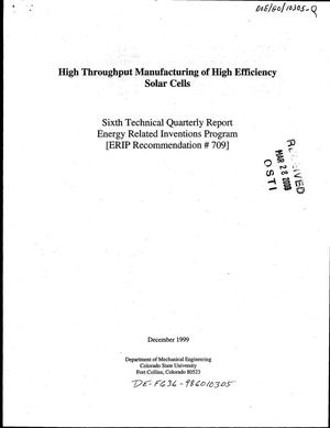 Primary view of object titled 'High throughput manufacturing of high efficiency solar cells. Quarterly report'.
