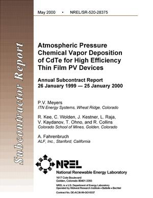 Primary view of object titled 'Atmospheric pressure chemical vapor deposition of CdTe for high efficiency thin film PV devices: Annual subcontract report, 26 January 1999--25 January 2000'.