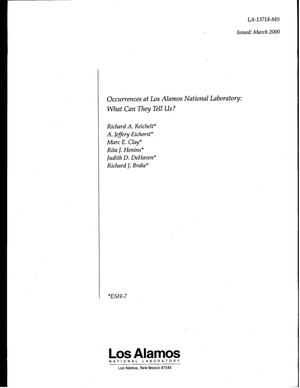 Primary view of object titled 'Occurrences at Los Alamos National Laboratory: What can they tell us?'.