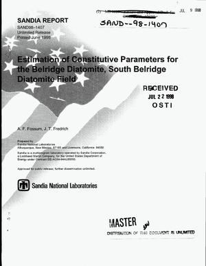 Primary view of object titled 'Estimation of constitutive parameters for the Belridge Diatomite, South Belridge Diatomite Field'.