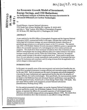 Primary view of object titled 'An economic growth model of investment, energy savings, and CO2 reductions : an integrated analysis of policies that increase investments in advanced efficient/low-carbon technologies.'.