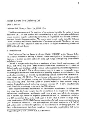 Primary view of object titled 'Recent results from Jefferson Lab'.