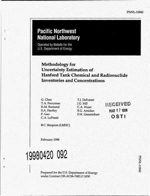 Primary view of object titled 'Methodology for uncertainty estimation of Hanford tank chemical and radionuclide inventories and concentrations'.