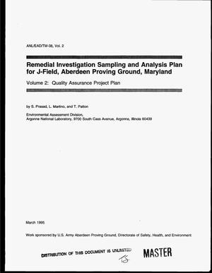Primary view of object titled 'Remedial investigation sampling and analysis plan for J-Field, Aberdeen Proving Ground, Maryland: Volume 2, Quality Assurance Project Plan'.