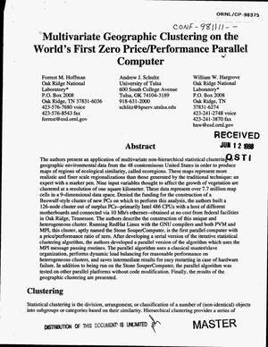 Primary view of object titled 'Multivariate geographic clustering on the world`s first zero price/performance parallel computer'.