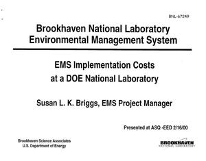 Primary view of object titled 'EMS IMPLEMENTATION COSTS AT A DOE NATIONAL LABORATORY'.