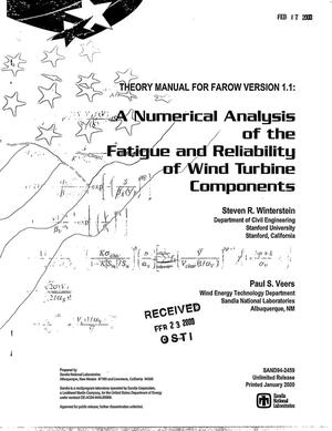 Primary view of object titled 'Theory manual for FAROW version 1.1: A numerical analysis of the Fatigue And Reliability Of Wind turbine components'.
