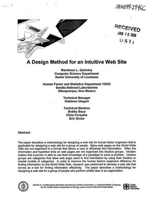 Primary view of object titled 'A design method for an intuitive web site'.
