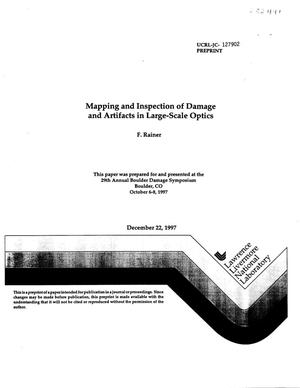 Primary view of object titled 'Mapping and inspection of damage and artifacts in large-scale optics'.