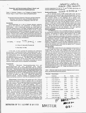 Primary view of object titled 'Preparation and characterization of phenyl-, benzyl-, and phenethyl-substituted polysilsesquioxanes'.