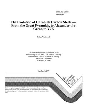 Primary view of object titled 'The evolution of ultrahigh carbon steels - from the Great Pyramids, to Alexander the Great, to Y2K'.