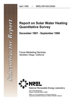 Primary view of object titled 'Report on Solar Water Heating Quantitative Survey'.