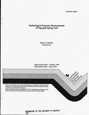 Primary view of object titled 'Hydrological property measurements of Topopah Spring Tuff'.