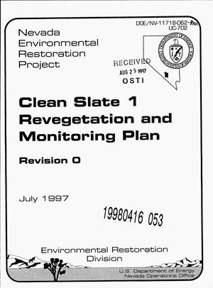 Primary view of object titled 'Clean Slate 1 revegetation and monitoring plan'.