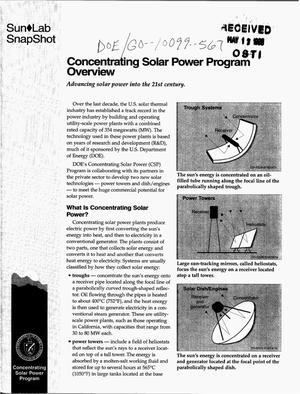 Primary view of object titled 'Concentrating Solar Power Program overview'.