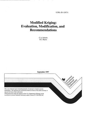 Primary view of object titled 'Modified Kriging: evaluation, modification, and recommendations'.