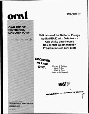 Primary view of object titled 'Validation of the National Energy Audit (NEAT) with data from a gas utility low-income residential weatherization program in New York State'.