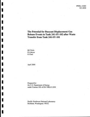 Primary view of object titled 'The potential for buoyant displacement gas release events in Tank 241-SY-102 after waste transfer from Tank 241-SY-101'.