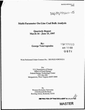 Primary view of object titled 'Multi-parameter on-line coal bulk analysis. Quarterly report, March 16--June 15, 1997'.