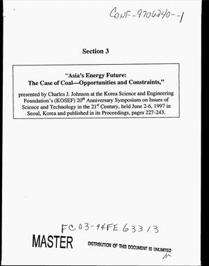 Primary view of object titled 'Asia`s energy future: The case of coal -- opportunities and constraints'.