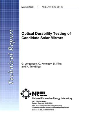 Primary view of object titled 'Optical durability testing of candidate solar mirrors'.
