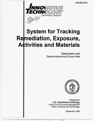 Primary view of object titled 'Innovative technology summary report: System for Tracking Remediation, Exposure, Activities and Materials'.