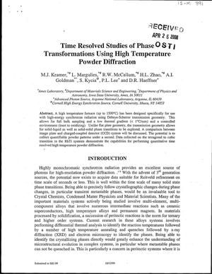 Primary view of object titled 'Time resolved studies of phase transformations using high temperature powder diffraction'.