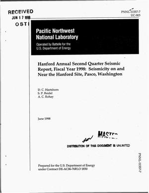 Primary view of object titled 'Hanford annual second quarter seismic report, fiscal year 1998: Seismicity on and near the Hanford Site, Pasco, Washington'.